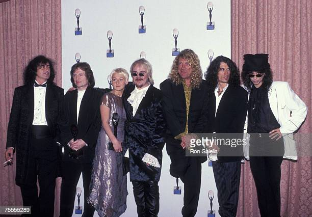 Jimmy Page John Paul Jones Zoe Bonham Jason Bonham and Robert Plant of Led Zeppelin inductees with Joe Perry and Steven Tyler of Aerosmith presenters