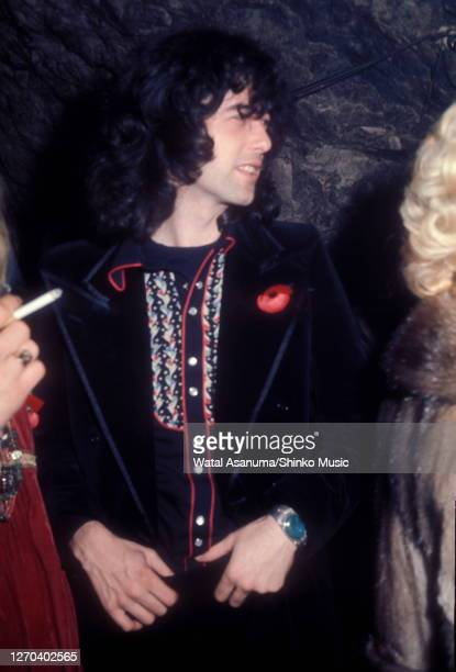 Jimmy Page of Led Zeppelin at a Swan Song Records party for the release of The Pretty Things' 'Silk Torpedo' album Chislehurst Caves Kent 31st...