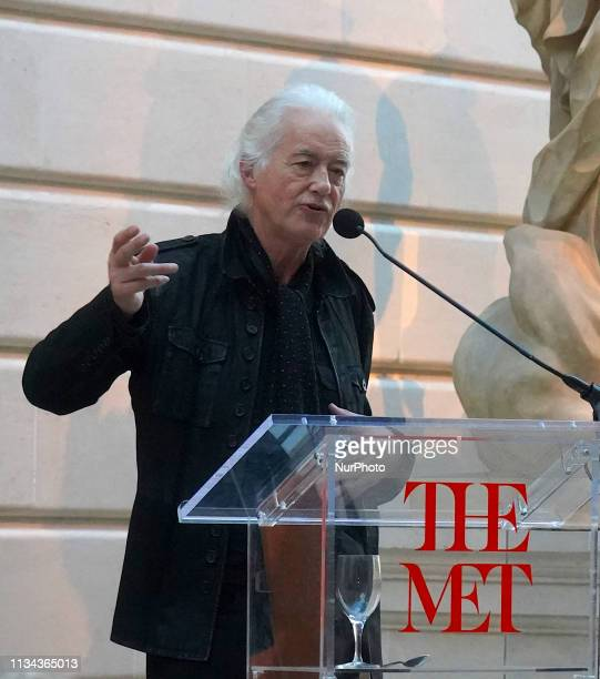 Jimmy Page of Led Zeppelin attendes to preview of the exhibition Play It Loud Instruments of Rock amp Rollquot at The Metropolitan Museum of Art in...