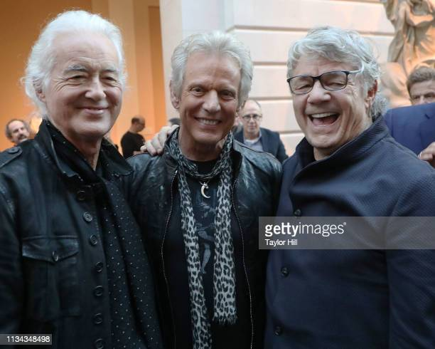 Jimmy Page of Led Zeppelin Don Felder of Eagles and Steve Miller attend the press preview for Play It Loud Instruments Of Rock Roll at The...