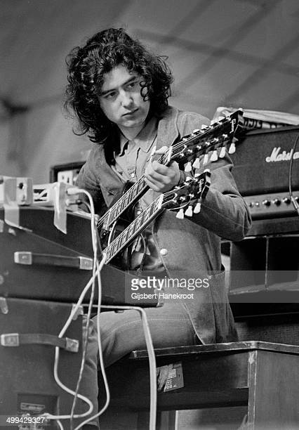 Jimmy Page of Led Zeppelin on stage during a soundcheck at Oude Rai on 27th May 1972 in Amsterdam Netherlands