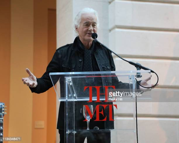 Jimmy Page of Led Zeppelin speaks during the press preview for Play It Loud Instruments Of Rock Roll at The Metropolitan Museum of Art on April 1...
