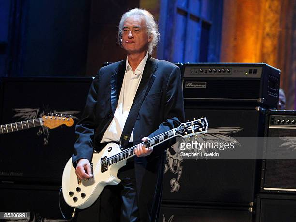 Jimmy Page performs onstage during the 24th Annual Rock and Roll Hall of Fame Induction Ceremony at Public Hall on April 4 2009 in Cleveland Ohio