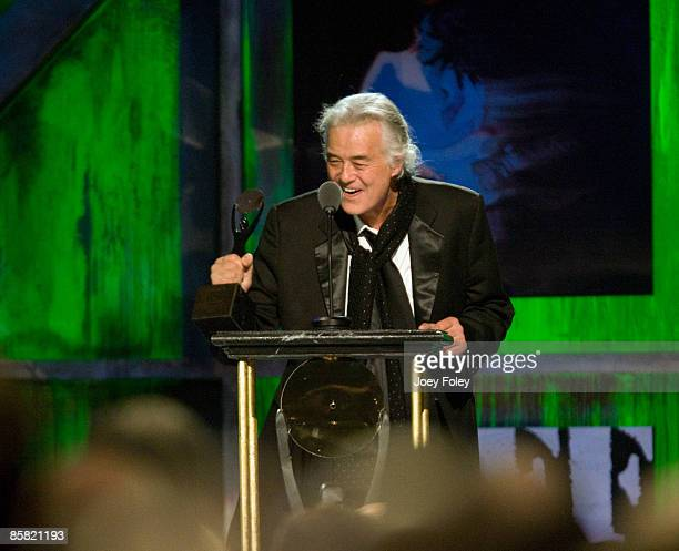 Jimmy Page presents an award during the 24th Annual Rock and Roll Hall of Fame Induction Ceremony at Public Hall on April 4 2009 in Cleveland Ohio