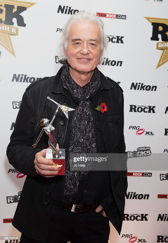 Jimmy Page receives Award on behalf of Led Zeppelin for Reissues of the Year at the Classic Rock Roll of Honour at The Roundhouse on November 11, 2015 in London, England.