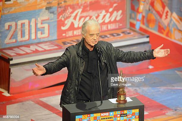 Jimmy Page receives the Rock N Roll Soul Award at the NME Awards at Brixton Academy on February 18 2015 in London England