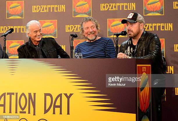 Jimmy Page Robert Plant and Jason Bonham attend Led Zeppelin Celebration Day Press Conference on October 9 2012 in New York City Led Zeppelin's John...