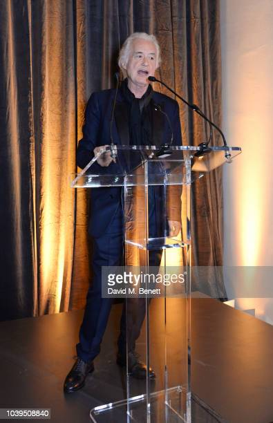 Jimmy Page speaks at the launch of Led Zeppelin by Led Zeppelin the official illustrated book marking the 50th anniversary of their formation at The...