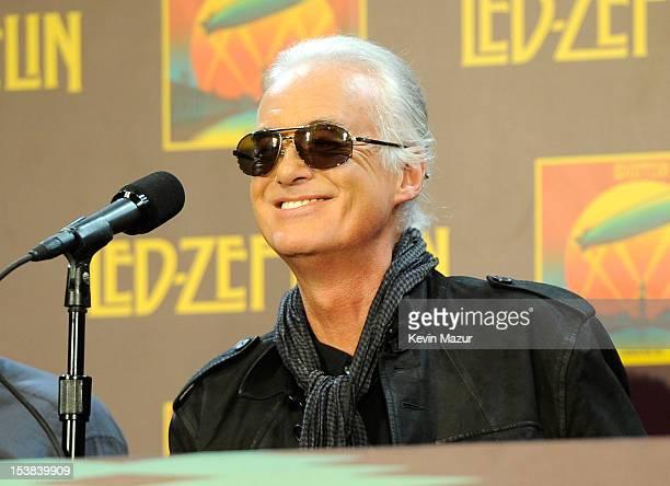 Jimmy Page speaks at the Led Zeppelin Celebration Day Press Conference on October 9 2012 in New York City Led Zeppelin's John Paul Jones Jimmy Page...