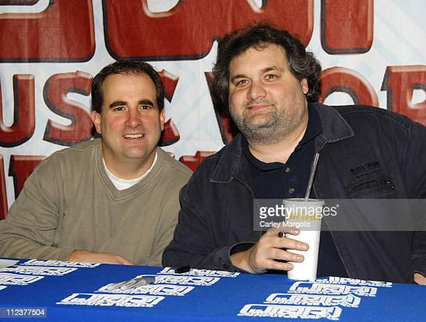 Jimmy Palumbo and Artie Lange during Artie Lange Signs His Newly Released DVD Beer League January 9 2007 at JR Music World in New York City New York...