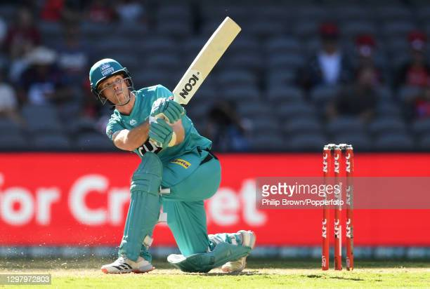 Jimmy Peirson of Heat bats during the Big Bash League match between the Melbourne Renegades and the Brisbane Heat at Marvel Stadium, on January 23 in...