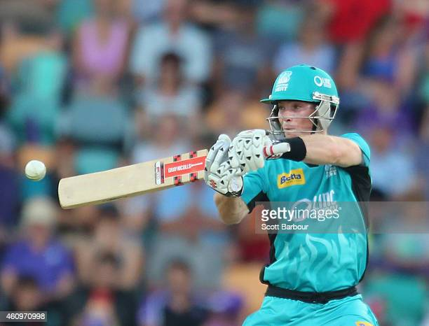 Jimmy Peirson of the Heat bats during the Big Bash League match between the Hobart Hurricanes and the Brisbane Heat at Blundstone Arena on January 2...