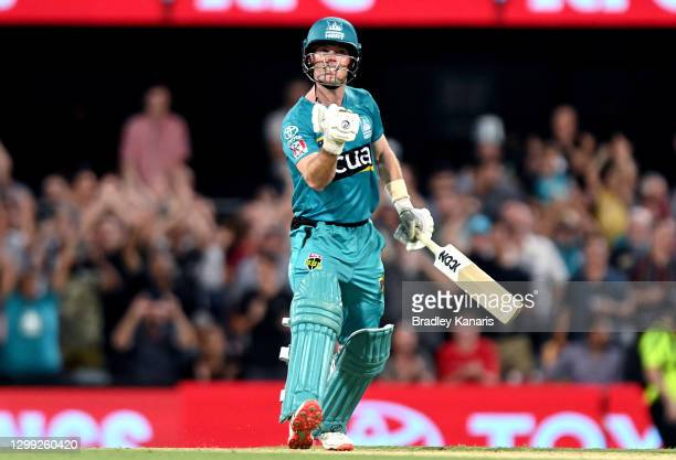 Jimmy Peirson of the Heat celebrates victory during the Big Bash League Eliminator Final match between the Brisbane Heat and the Adelaide Strikers at...