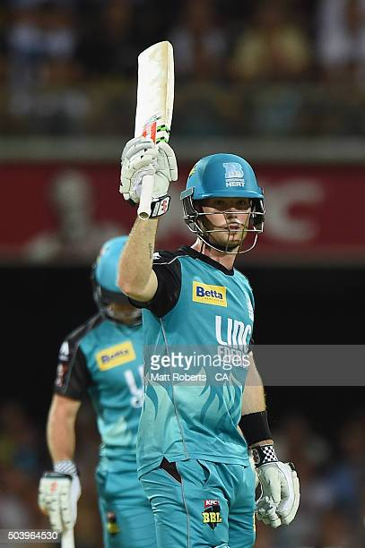 Jimmy Peirson of the Heat celebrats reach his half century during the Big Bash League match between the Brisbane Heat and the Adelaide Strikers at...