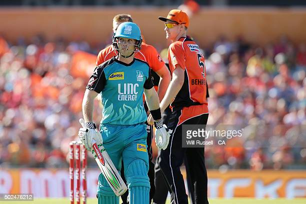 Jimmy Peirson of the Heat leaves the field after being dismissed during the Big Bash League match between the Perth Scorchers and the Brisbane Heat...