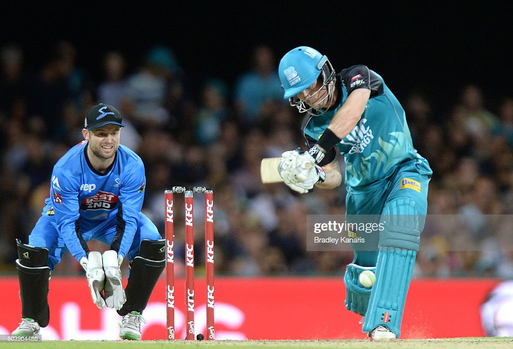 Jimmy Peirson of the Heat plays a shot during the Big Bash League match between the Brisbane Heat and the Adelaide Strikers at The Gabba on January 8, 2016 in Brisbane, Australia.