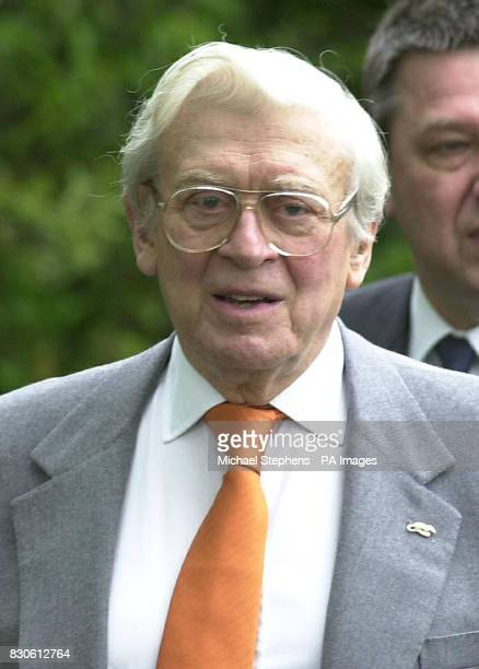 Jimmy Perry writer of the the hit TV show 'Dads Army' after the funeral service for Liz Sherlock at Mortlake crematorium in London Liz Sherlock was...