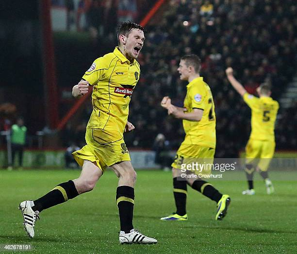 Jimmy Phillips of Burton celebrates after scoring during the FA Cup Third Round match between AFC Bournemouth and Burton Albion at the Goldsands...
