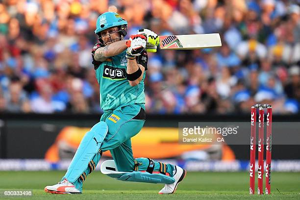 Jimmy Pierson of the Brisbane Heat bats during the Big Bash League match between the Adelaide Strikers and Brisbane Heat at Adelaide Oval on December...