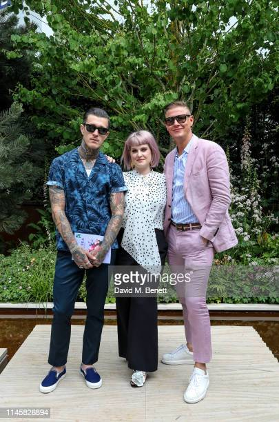 Jimmy Q, Kelly Osbourne and David Graham visit the Wedgewood Garden & Tea Conservatory at the Chelsea Flower Show 2019 on May 24, 2019 in London,...