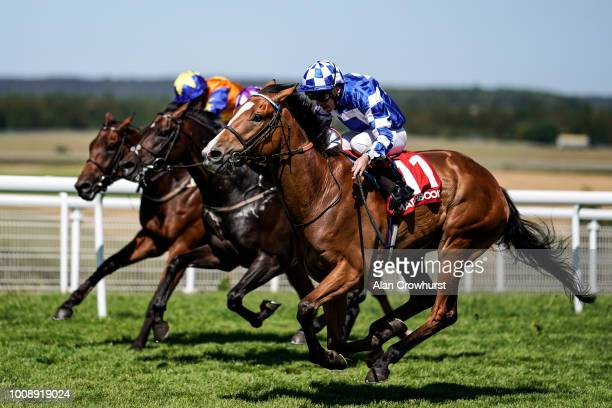 Jimmy Quinn riding Soto Sizzler win The Move Over To Matchbook Handicap Stakes at Goodwood Racecourse on August 1 2018 in Chichester United Kingdom