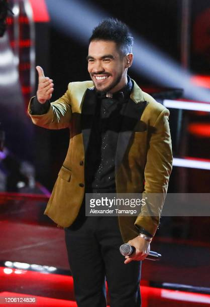 Jimmy Rodriguez is seen on stage during Telemundo's La Voz Batallas Round 1 at Cisneros Studios on March 8 2020 in Miami Florida