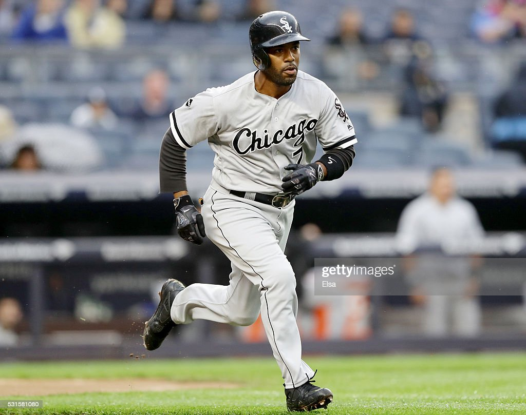 Jimmy Rollins #7 of the Chicago White Sox heads for first base against the New York Yankees at Yankee Stadium on May 13, 2016 in the Bronx borough of New York City.