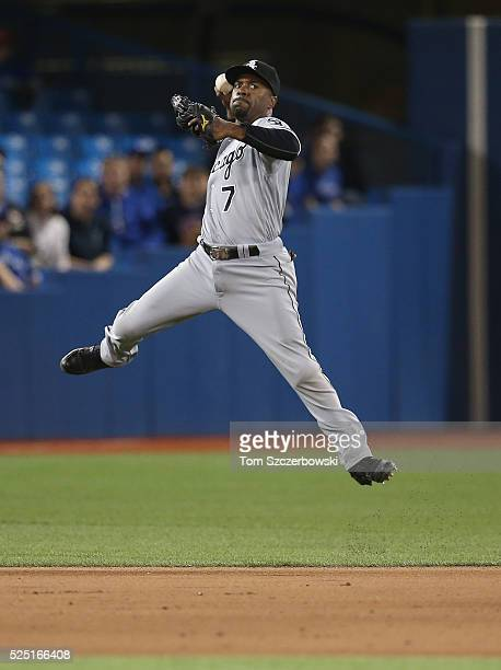 Jimmy Rollins of the Chicago White Sox makes the play and throws out the baserunner in the eighth inning during MLB game action against the Toronto...