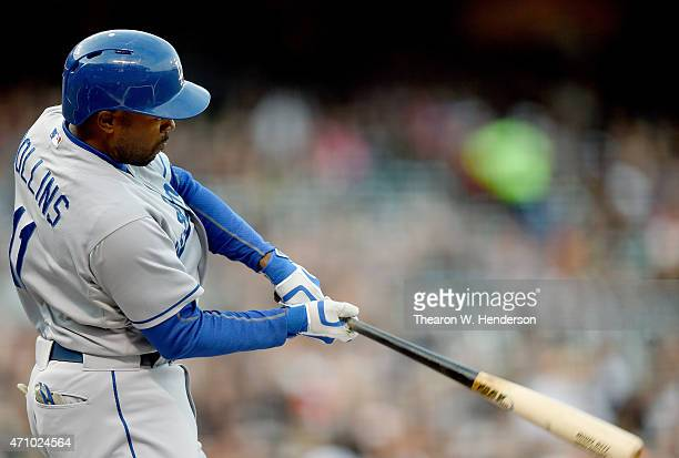 Jimmy Rollins of the Los Angeles Dodgers bats against the San Francisco Giants in the top of the first innin at ATT Park on April 22 2015 in San...
