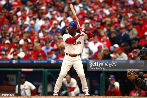 Jimmy Rollins of the Philadelphia Phillies bats against the Colorado Rockies in Game One of the NLDS during the 2009 MLB Playoffs at Citizens Bank...