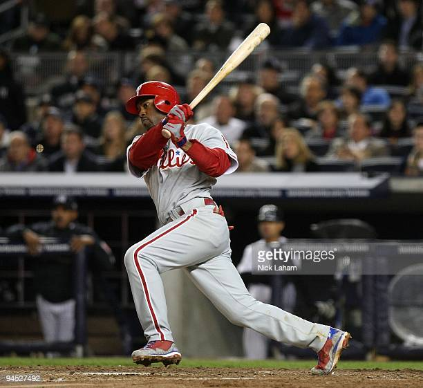 Jimmy Rollins of the Philadelphia Phillies bats against the New York Yankees in Game Six of the 2009 MLB World Series at Yankee Stadium on November 4...
