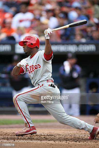 Jimmy Rollins of the Philadelphia Phillies bats during the game against the New York Mets at Shea Stadium in Flushing New York on September 16 2007...