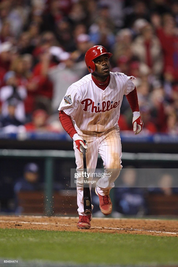 Jimmy Rollins #11 of the Philadelphia Phillies doubles in the bottom of the eighth inning during game four of the World Series between the Tampa Bay Rays and the Philadelphia Phillies at Citizens Bank Park on Sunday, October 26, 2008. The Phillies defeated the Rays 10-2.