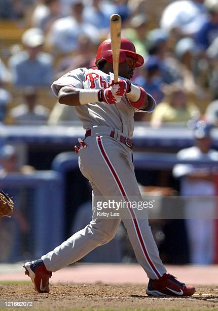 Jimmy Rollins of the Philadelphia Phillies during 41 victory over the Los Angeles Dodgers at Dodger Stadium on Sunday August 8 2004