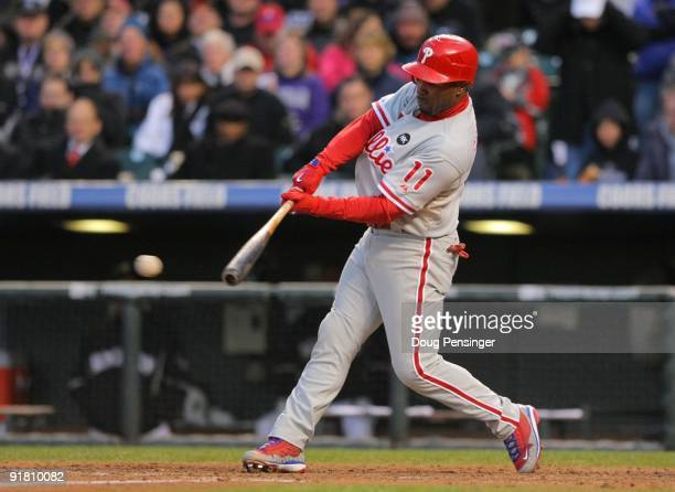 Jimmy Rollins of the Philadelphia Phillies hits a double in the top of the seventh inning against the Colorado Rockies in Game Four of the NLDS...