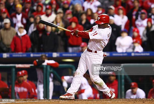 Jimmy Rollins of the Philadelphia Phillies hits a gamewinning walkoff 2run double in the bottom of the ninth inning to win 54 against the Los Angeles...
