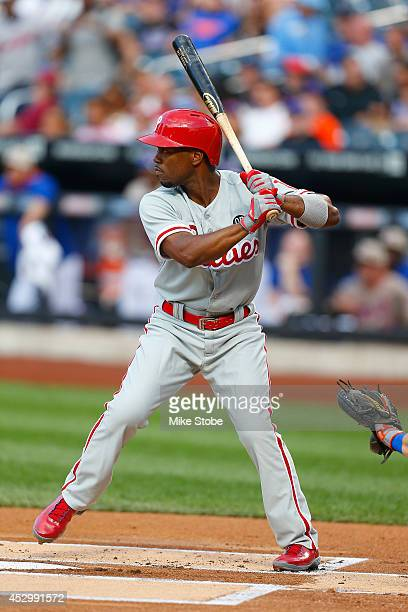 Jimmy Rollins of the Philadelphia Phillies in action against the New York Mets on July 28 2014 at Citi Field in the Flushing neighborhood of the...