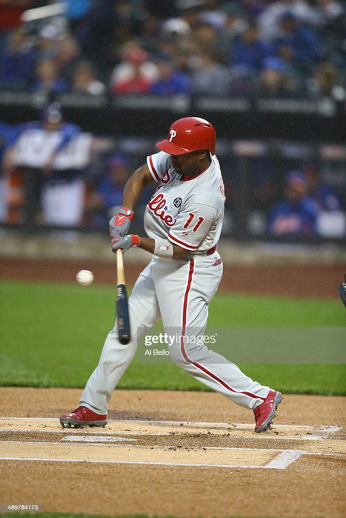 Jimmy Rollins #11 of the Philadelphia Phillies in action against the New York Mets during their game on May 9, 2014 at Citi Field in the Flushing neighborhood of the Queens borough of New York City.