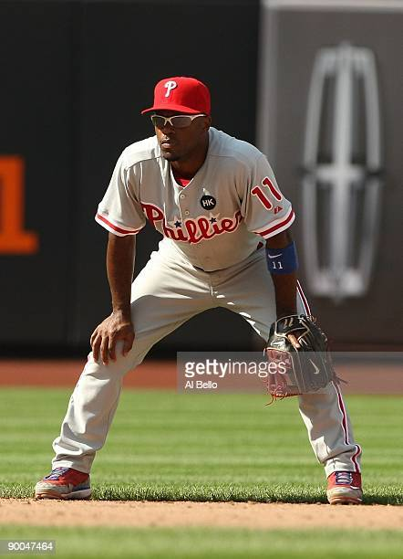 Jimmy Rollins of the Philadelphia Phillies in action against The New York Mets during their game on August 23 2009 at Citi Field in the Flushing...