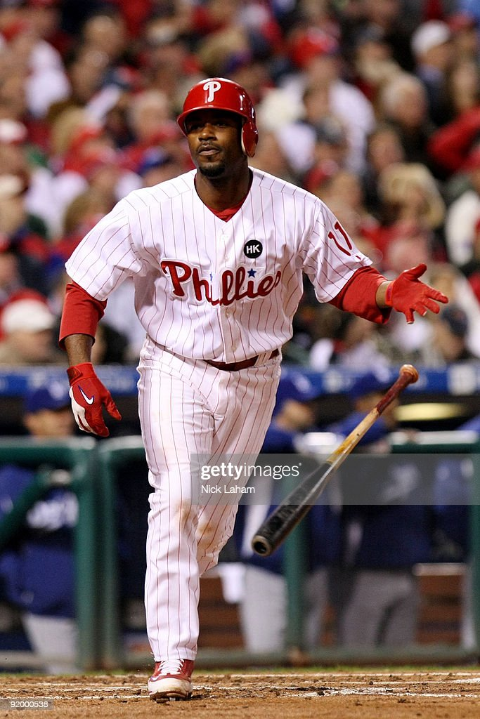 Jimmy Rollins #11 of the Philadelphia Phillies reacts after he flied out in the bottom of the third inning against the Los Angeles Dodgers in Game Four of the NLCS during the 2009 MLB Playoffs at Citizens Bank Park on October 19, 2009 in Philadelphia, Pennsylvania.