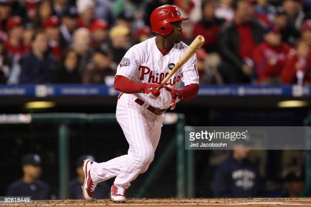 Jimmy Rollins of the Philadelphia Phillies singles in the bottom of the first inning against the New York Yankees in Game Five of the 2009 MLB World...