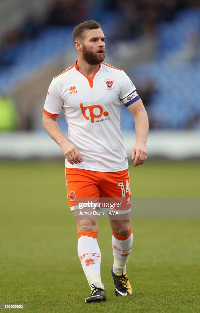 Jimmy Ryan of Blackpool during the Sky Bet League One match between Shrewsbury Town and Blackpool at New Meadow on December 16, 2017 in Shrewsbury, England.