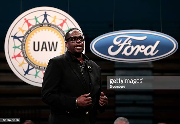 Jimmy Settles vice president of the United Auto Workers speaks during the ceremonial start of labor negotiations in Detroit Michigan US on Thursday...