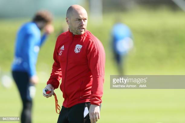 Jimmy Shan the West Bromwich Albion Senior Professional Development Phase Coach during a West Bromwich Albion training session on April 5 2018 in...