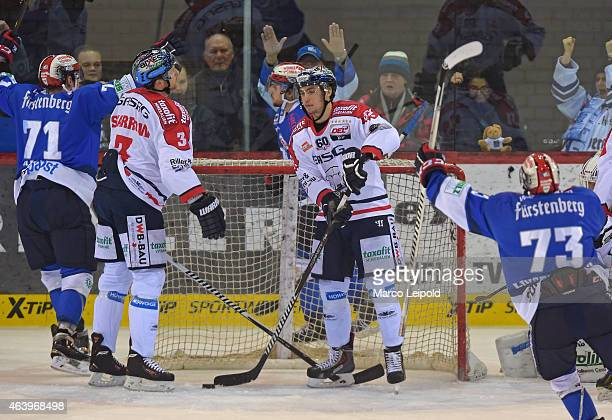 Jimmy Sharrow and Sven Ziegler of the Eisbaeren Berlin show disappointment after dem Tor tom 1:3 during the game between Schwenninger Wild Wings and...