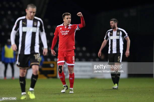 Jimmy Smith of Crawley Town celebrates after scoring a goal to make it 10 during the Sky Bet League Two match between Notts County and Crawley Town...
