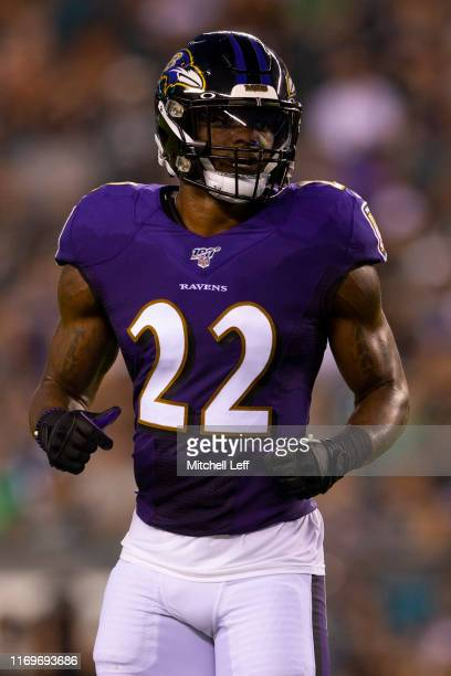 Jimmy Smith of the Baltimore Ravens looks on against the Philadelphia Eagles in the preseason game at Lincoln Financial Field on August 22, 2019 in...
