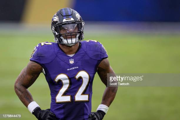 Jimmy Smith of the Baltimore Ravens looks on during the second half of the game against the Cincinnati Bengals at M&T Bank Stadium on October 11,...