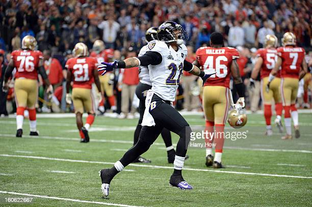 Jimmy Smith of the Baltimore Ravens reacts after the San Francisco 49ers couldn't convert a fourth down play to turn the ball over in the final two...