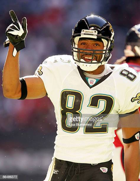Jimmy Smith of the Jacksonville Jaguars celebrates during the game against the Houston Texans on December 24, 2005 at Reliant Stadium in Houston,...